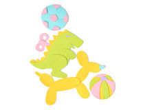 Pile of toys paper cut on white background royalty free illustration