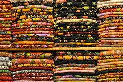 Pile of traditional colorful Arabic scarves Stock Image