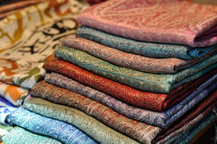 Pile of traditional colorful Arabic scarves Stock Photography