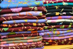 Pile of traditional colorful Arabic scarves Royalty Free Stock Photography