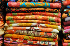 Pile of traditional colorful Arabic scarves Royalty Free Stock Photo