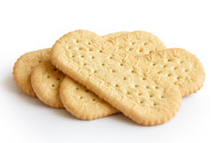 Pile of traditional rich tea english biscuits isolated on white. Royalty Free Stock Images