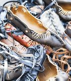 Pile of traditional Romanian sandals Stock Images