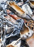 Pile of traditional Romanian sandals Royalty Free Stock Photo