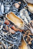Pile of traditional Romanian sandals Royalty Free Stock Photos