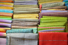 Pile of Traditional textile in Thailand market Royalty Free Stock Photo