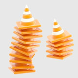 Pile of traffic safety orange road cones isolated Stock Photography