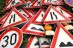 Pile of traffic signs Stock Image