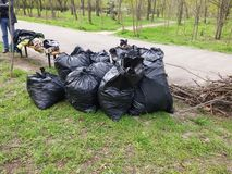 Pile of Trash Bags. Pile of full trash bags and branchs in the park royalty free stock images