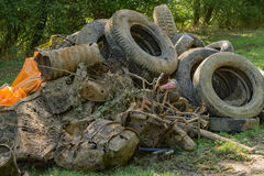 Pile of Trash Collected After a Cleanup Event Stock Photography