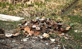 Pile of trash in forest Royalty Free Stock Photography