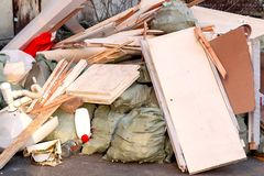 A pile of trash, garbage and old furniture submitted for disposal in the trash stock photos