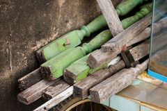 Pile trash wood from old railing before sell to merchant Royalty Free Stock Images