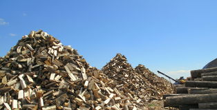 Pile of tree logs in pyramid shape Stock Photography