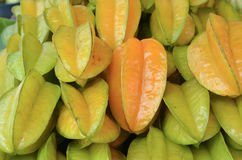 Pile of tropical fruit or Carambola fruit was managed Royalty Free Stock Image