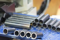 The pile  of tube or pipe raw material. For manufacturing process Stock Photos