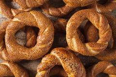 Pile Turkish bagel Simit. On background Stock Image
