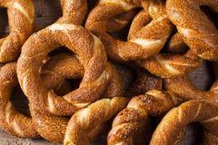 Pile Turkish bagel Simit. On background Royalty Free Stock Images
