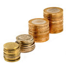 Pile of Turkish coins isoladet Royalty Free Stock Photos