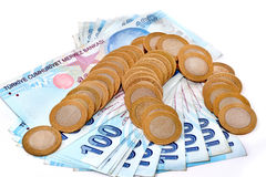 Pile of Turkish coins isoladet Stock Images