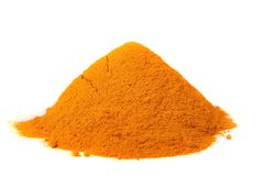 A pile of turmeric on a white background Stock Photo