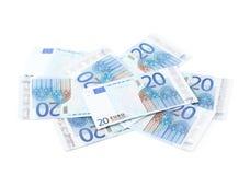 Pile of twenty euro notes Royalty Free Stock Image