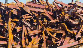 Pile of Twisted Steel Beams royalty free stock images