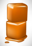 Pile of two caramel melting cubes Royalty Free Stock Photos