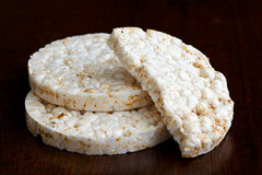 Pile of two and half puffed rice cakes. Royalty Free Stock Image