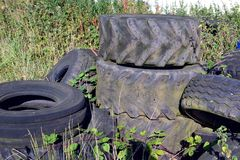 Pile of Tyres Stock Photo