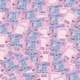 Pile of ukrainian money hryvnia, denomination of 200 UAH. Background of banknotes in denominations hundred Ukrainian hryvnia stock photo