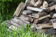 Pile of uncut firewood Stock Photo