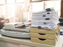 Pile of unfinished business documents on office desk Stock Photography