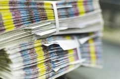 Pile of unfinished Print Magazine with cmyk bars Stock Photo