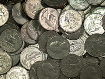 Pile of United States Coins Silver Stock Images