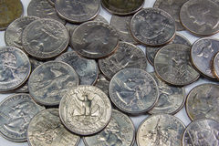 Pile of United States Silver quarters Royalty Free Stock Photo