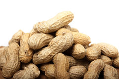 Pile of unshelled peanuts, isolated on white Stock Image