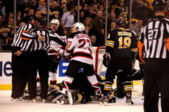 Pile-up in at Bruins goal. Royalty Free Stock Photos