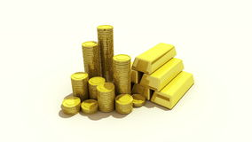 Pile up Golden coins and bar, expressed growth profits stock video