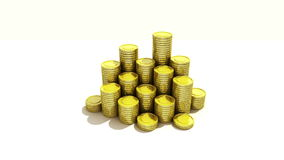 Pile up Golden coins and bar, expressed growth profits 3 stock video footage