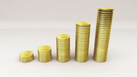Pile up Golden coins expressed growth profits stock footage