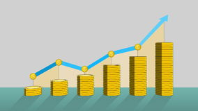 Pile up Golden coins expressed growth profits, and increase infographic box.1