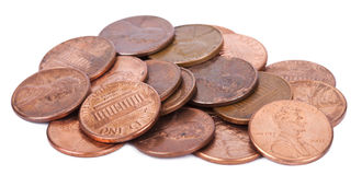 Isolated Pile of Pennies. A pile of 1 US cent (penny) coins isolated on white background. This is the version of the penny that was produced between the years Stock Photos