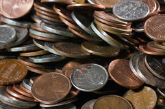 Pile of US coins Royalty Free Stock Images