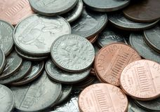 Pile of US Coins. A macro shot of some US coins royalty free stock photography