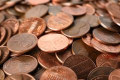 Pile of US coins as background. Closeup royalty free stock images