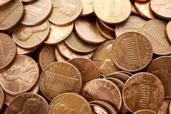 Pile of US coins as background. Closeup stock images