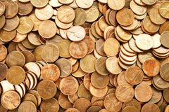 Pile of US coins as background. Top view stock photo