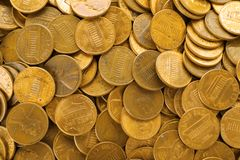 Pile of US coins as background. Top view stock images