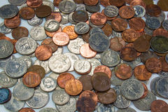 Pile of US Coins. Horizontal image of a pile of US coins royalty free stock photos